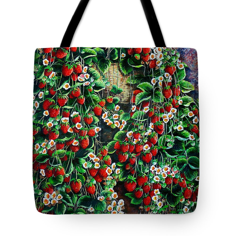 Fruit Painting Strawberry Painting Red Floral Painting Hanging Strawberry Basket Painting Botanical Painting Fruit Painting Tote Bag featuring the painting A Berry Sweet Basket by Karin Dawn Kelshall- Best