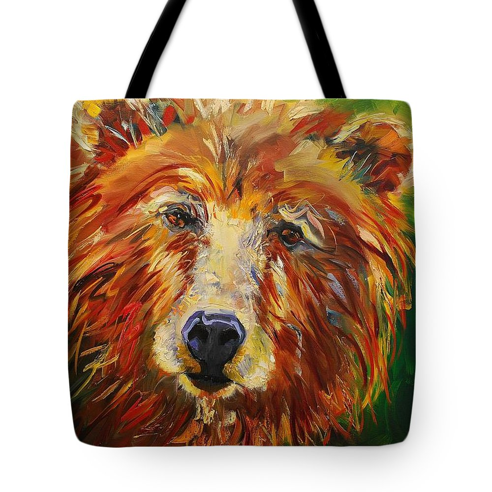 Bear Tote Bag featuring the painting A Bunch Of Bear by Diane Whitehead