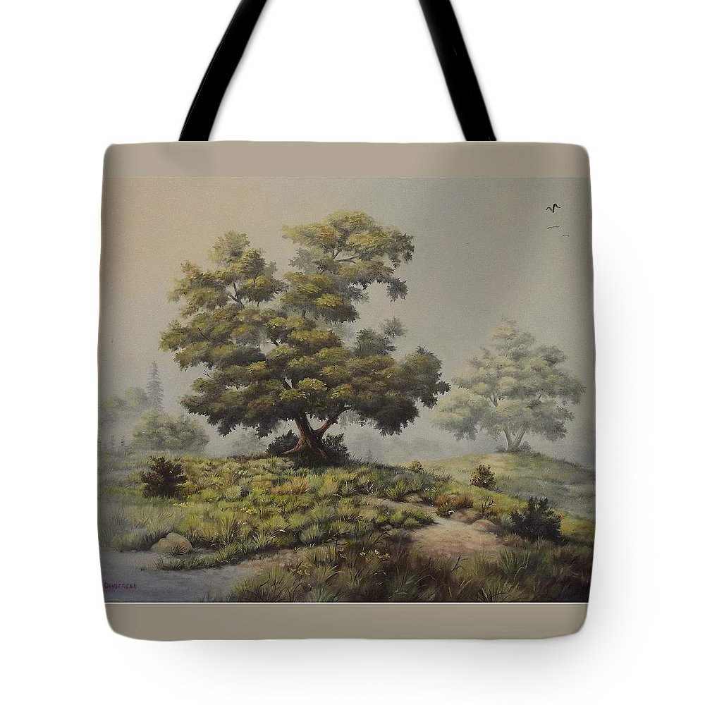 Misty Morning Tote Bag featuring the painting A Foggy Texas Morning by Wanda Dansereau