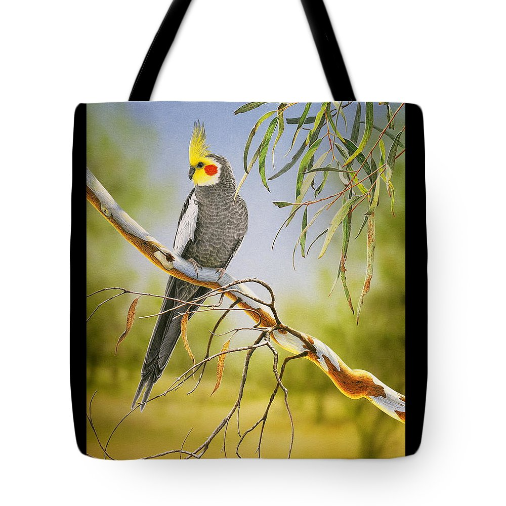Bird Tote Bag featuring the painting A Friendly Face - Cockatiel by Frances McMahon