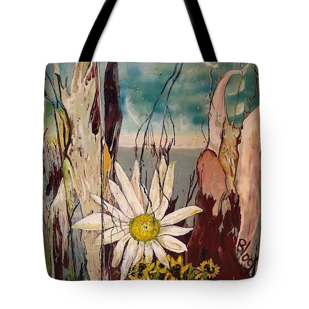 Trees Tote Bag featuring the painting A Moment by Peggy Blood