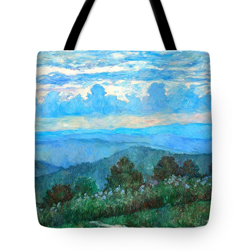 Landscape Tote Bag featuring the painting A Path to Rock Castle Gorge in the Evening by Kendall Kessler