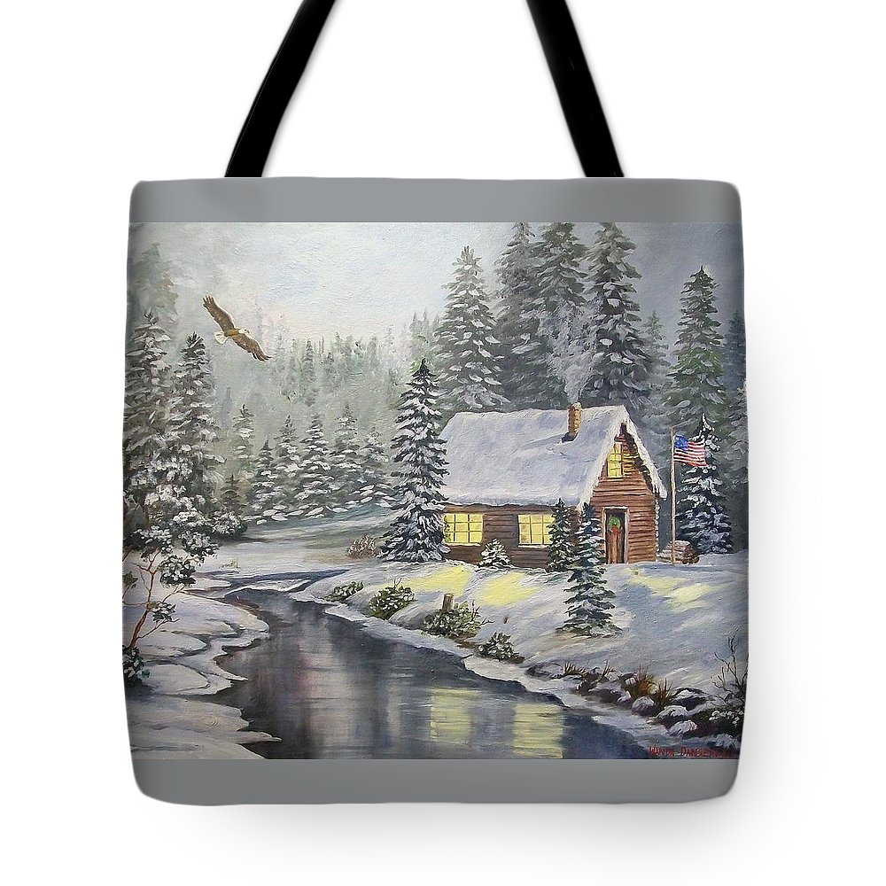 Christmas Tote Bag featuring the painting A Snowey Mountain Christmas by Wanda Dansereau