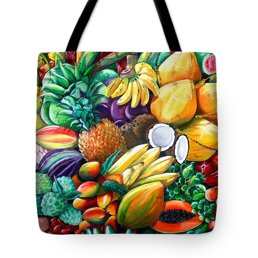 Caribbean Fruit Painting Tropical Fruit Painting Caribbean Pineapple Mangoes Bananas Coconut Watermelon Tropical Fruit Painting Tote Bag featuring the painting A Taste Of The Islands by Karin Dawn Kelshall- Best