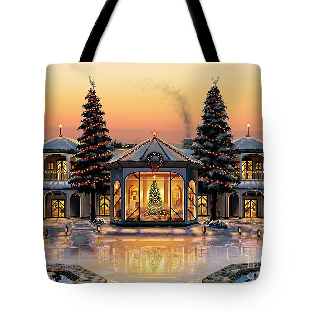 Christmas Tote Bag featuring the painting A Warm Home For The Holidays by Stu Shepherd