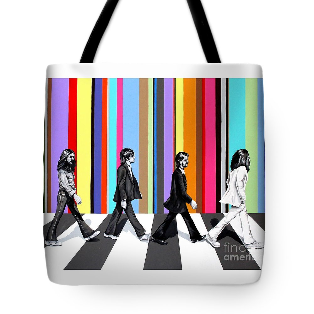 The Beatles Tote Bag featuring the painting Abbey Road Technicolor by Amy Belonio