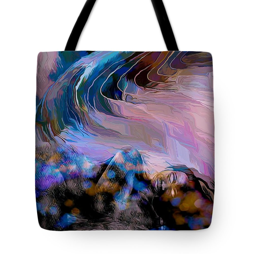 Modern Abstract Art Tote Bag featuring the mixed media Abstract Island Girl Slumbering On The Beach by Joan Stratton