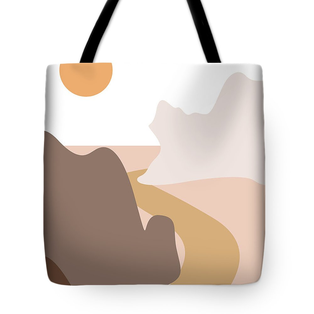 Mountains Tote Bag featuring the mixed media Abstract Mountains 04 - Modern, Minimal, Contemporary Abstract - Terracotta Brown - Landscape by Studio Grafiikka