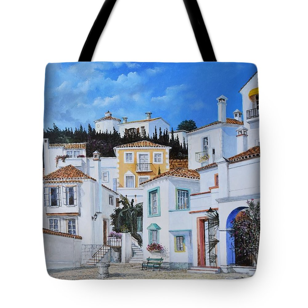 City Tote Bag featuring the painting Afternoon Light In Montenegro by Sinisa Saratlic