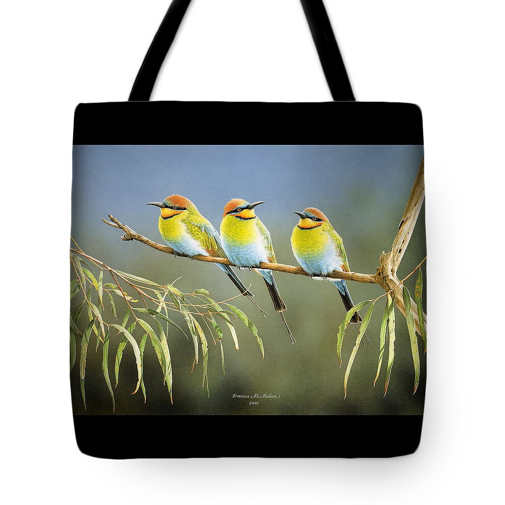 Bird Tote Bag featuring the painting Afternoon Repose - Rainbow Bee-Eaters by Frances McMahon