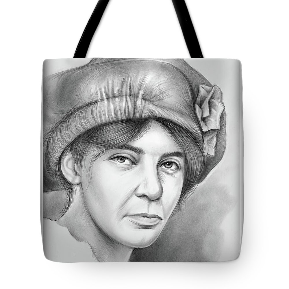 Alice Stokes Paul Tote Bag featuring the drawing Alice Stokes Paul by Greg Joens