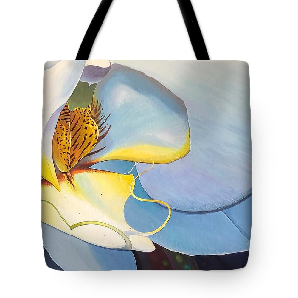 Orchid Tote Bag featuring the painting All You Need is Now by Hunter Jay