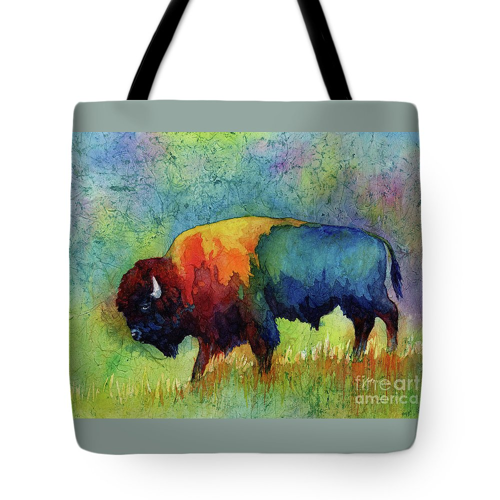 Bison Tote Bag featuring the painting American Buffalo III by Hailey E Herrera