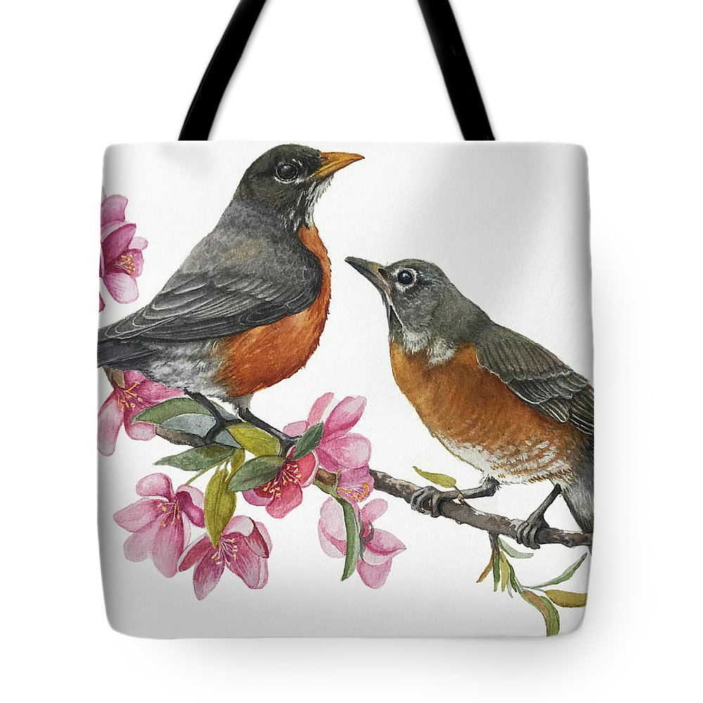 American Robins Tote Bag featuring the painting American Robins State Bird Original Wildlife Watercolor by Linda Apple