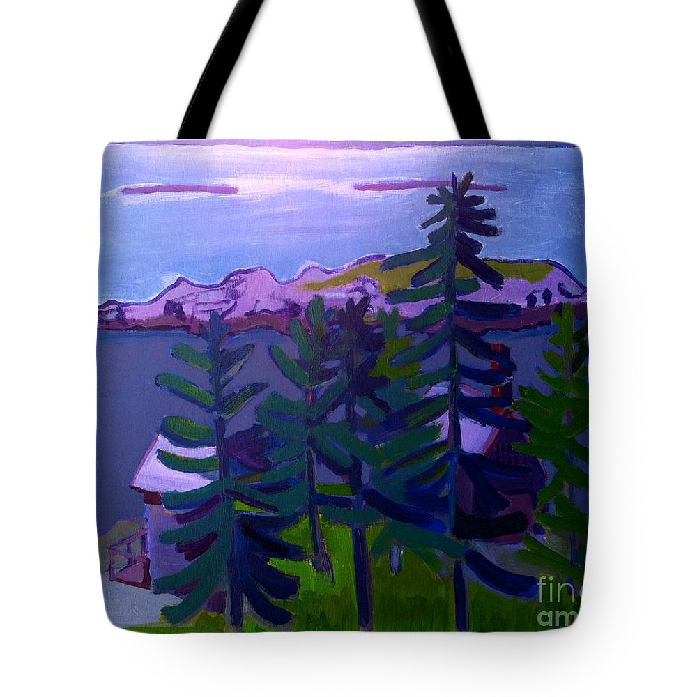 Seascape Tote Bag featuring the painting Among the Pines by Debra Bretton Robinson