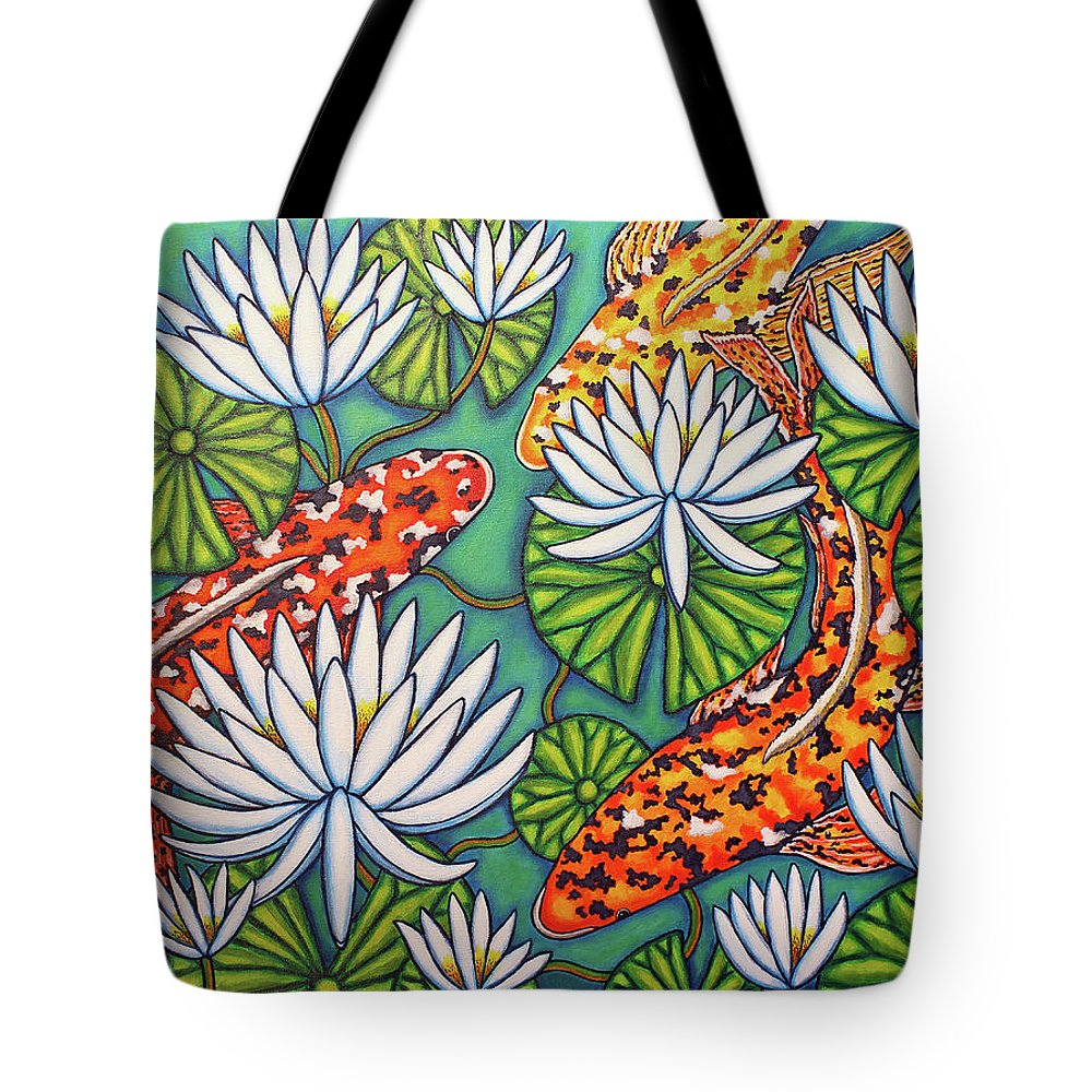 Koi Tote Bag featuring the painting Aquatic Jewels by Lisa Lorenz