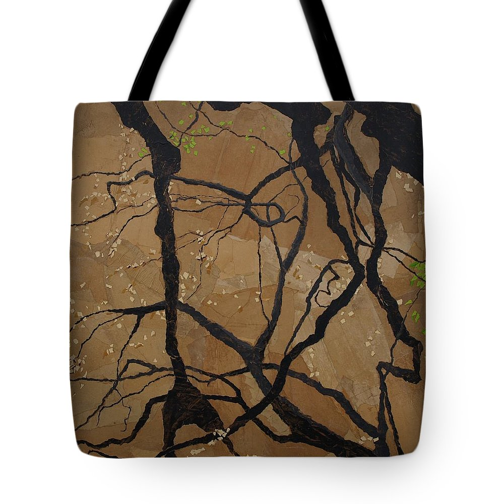 Abstract Tree Branches Tote Bag featuring the painting Arboretum Dancers by Leah Tomaino