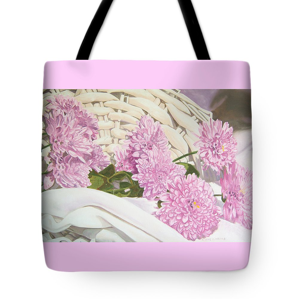 Fine Art Print Tote Bag featuring the painting Floral Art Print For Sale Still Life Oil Painting by Diane Jorstad