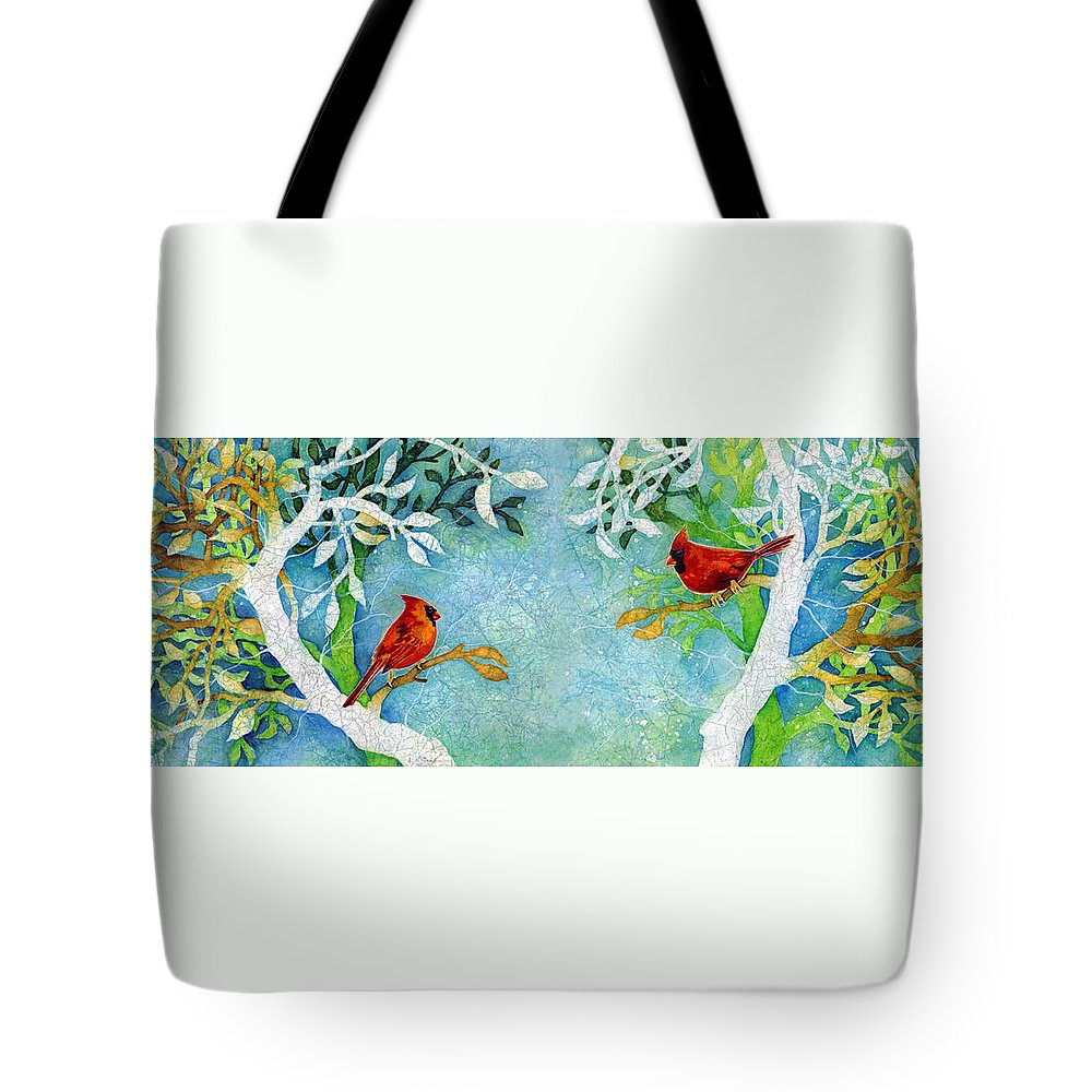 Northern Cardinal Tote Bag featuring the painting Sweet Memories Diptych by Hailey E Herrera