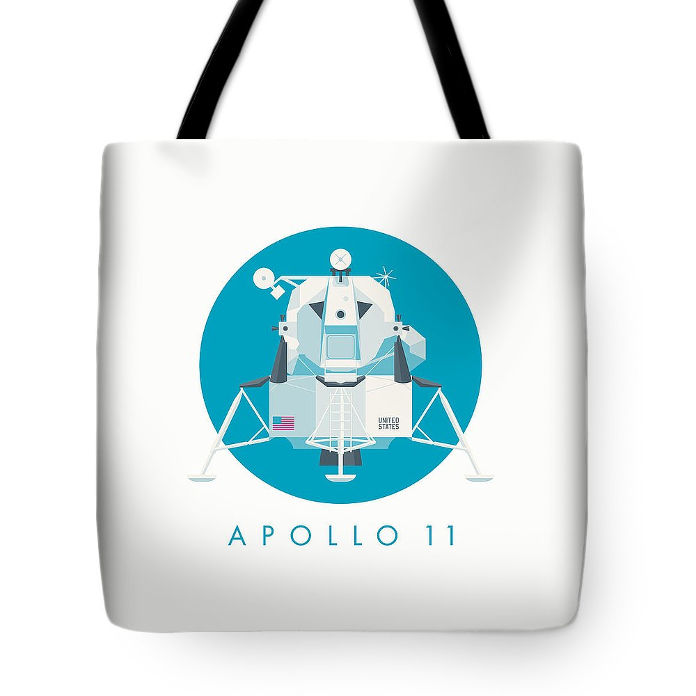 Apollo 11 Tote Bag featuring the digital art Apollo Lunar Module Lander Minimal - Text Cyan by Organic Synthesis