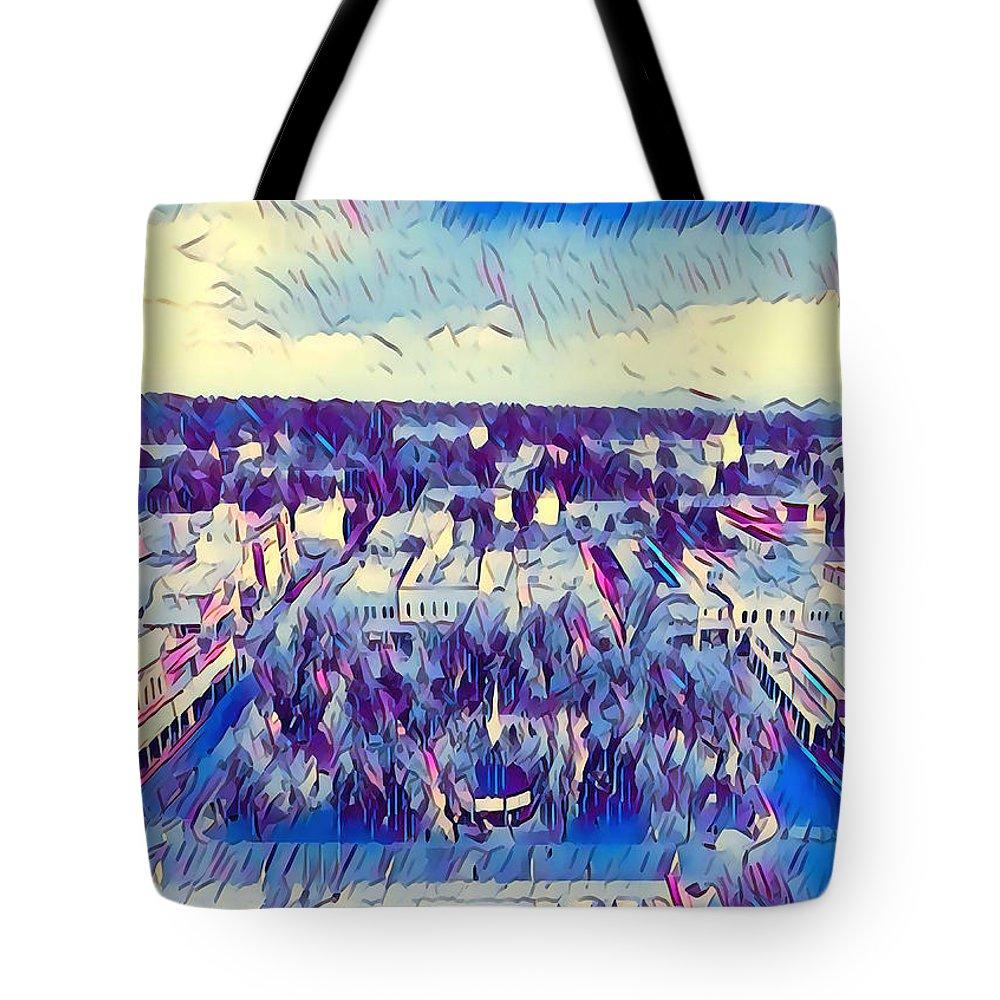 Southwest Tote Bag featuring the digital art Santa Fe Plaza Dusk by Aerial Santa Fe