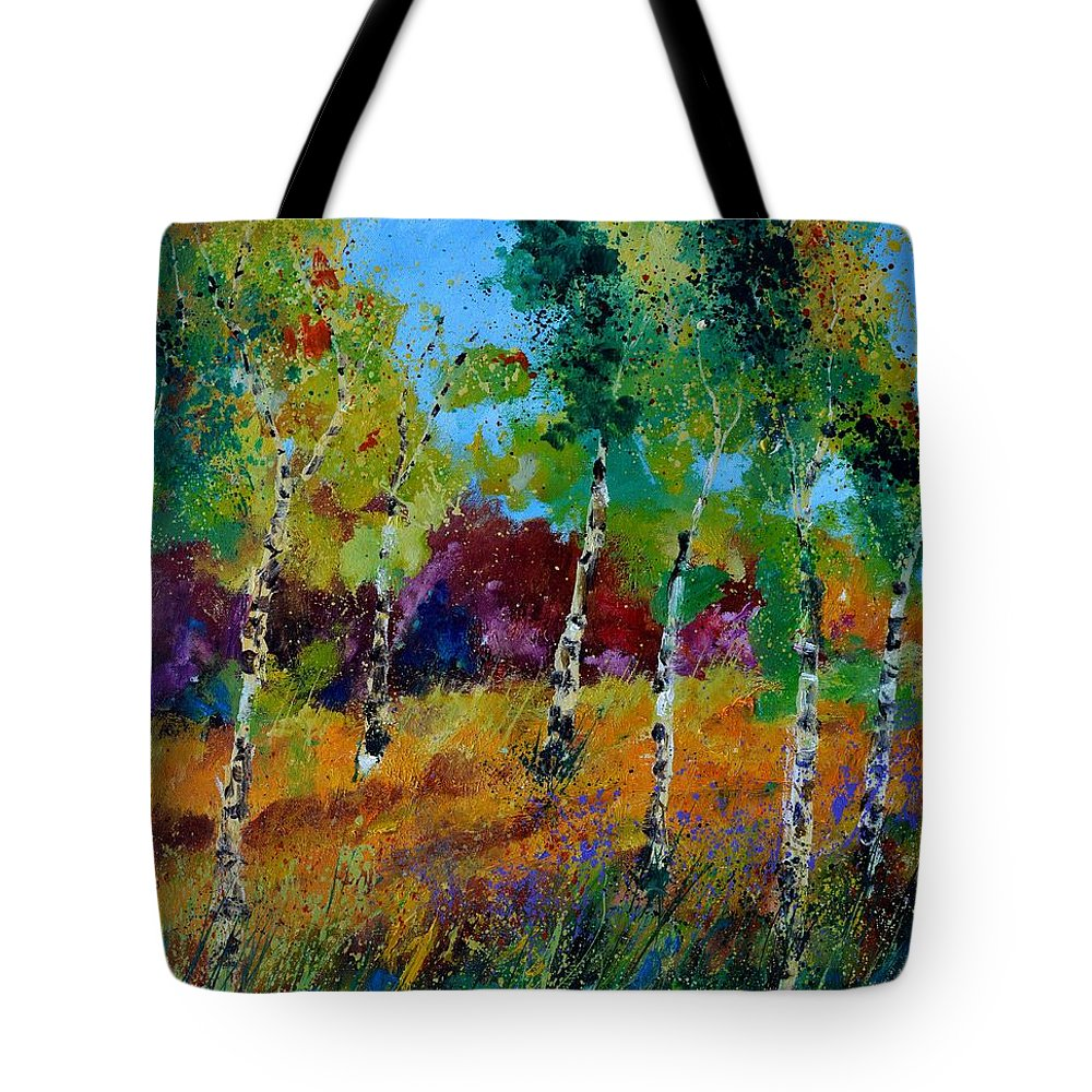 Landscape Tote Bag featuring the painting Aspen trees in autumn by Pol Ledent