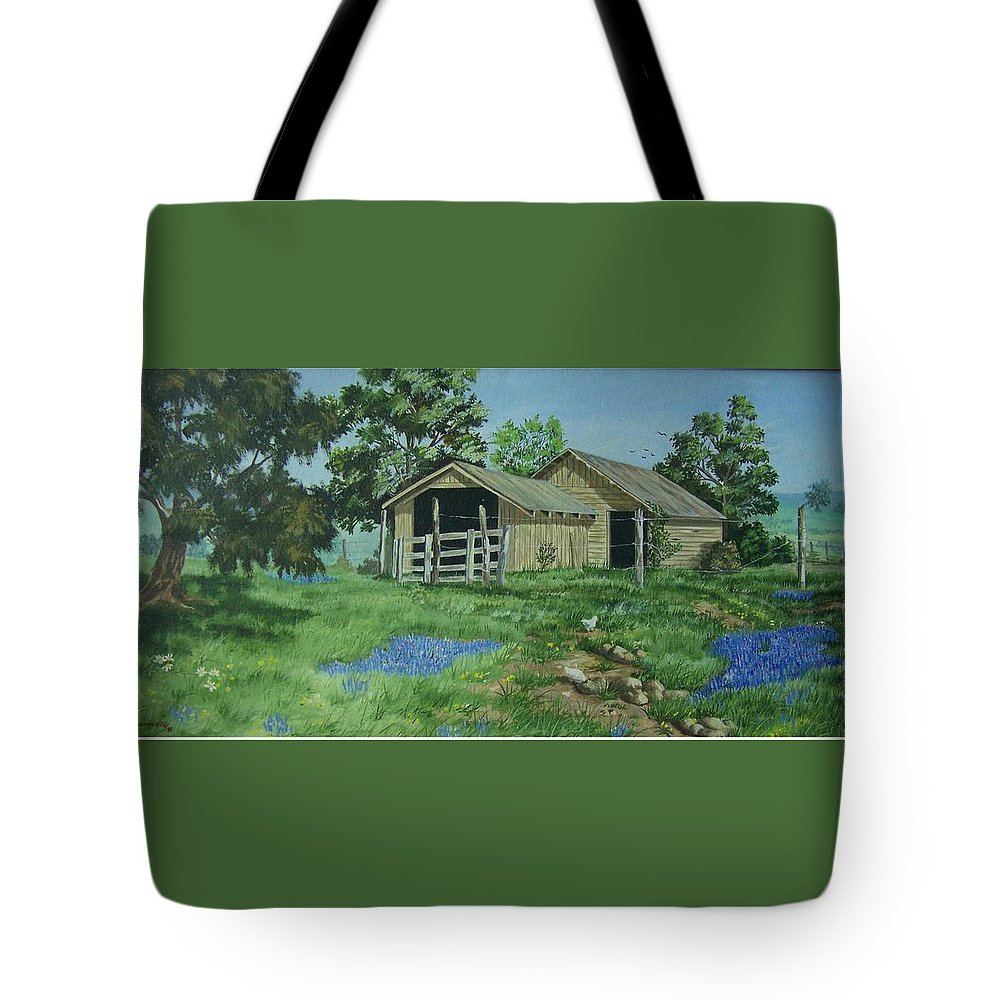 Landscape Tote Bag featuring the painting At the End of a Country Road by Wanda Dansereau