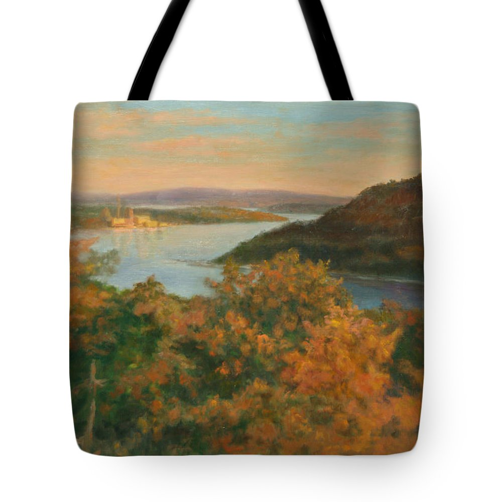 Landscape Tote Bag featuring the painting Autumn Hudson Highlands by Phyllis Tarlow