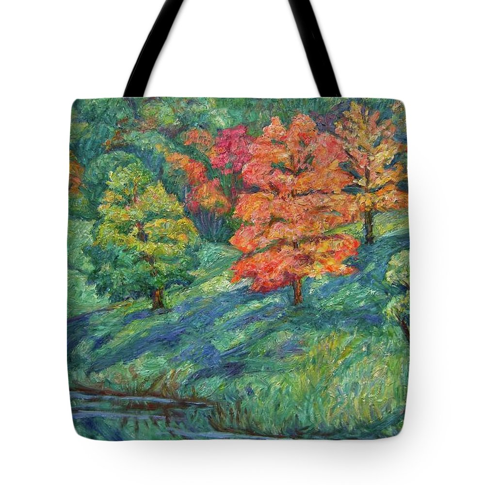 Landscape Tote Bag featuring the painting Autumn Pond by Kendall Kessler