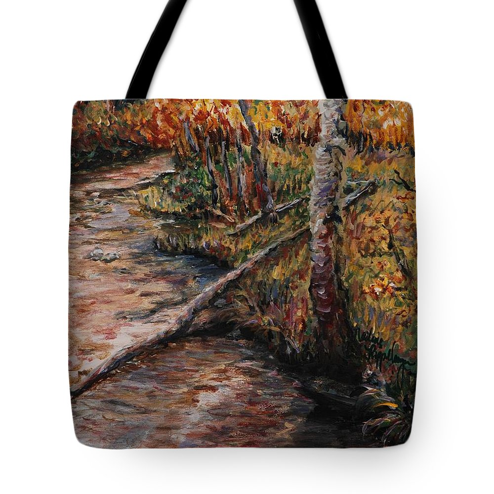 Landscape Tote Bag featuring the painting Autumn Reflections by Nadine Rippelmeyer