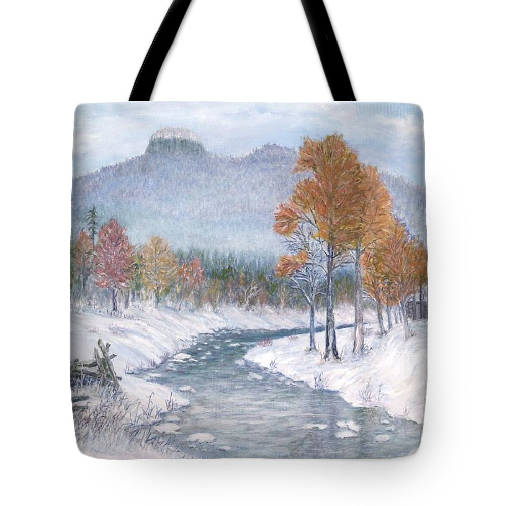 Snow Tote Bag featuring the painting Autumn Snow by Ben Kiger
