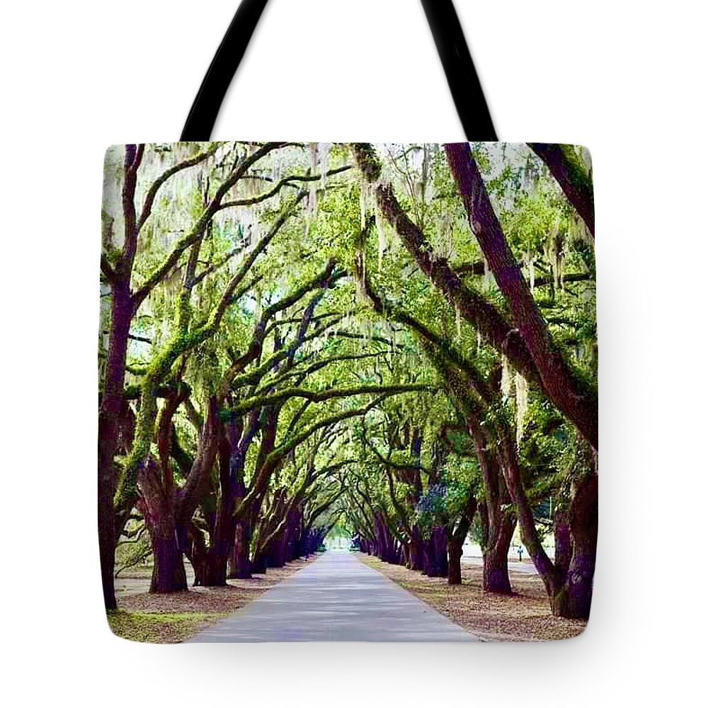 Landscape Tote Bag featuring the photograph Avenue of the Oaks by Michael Stothard