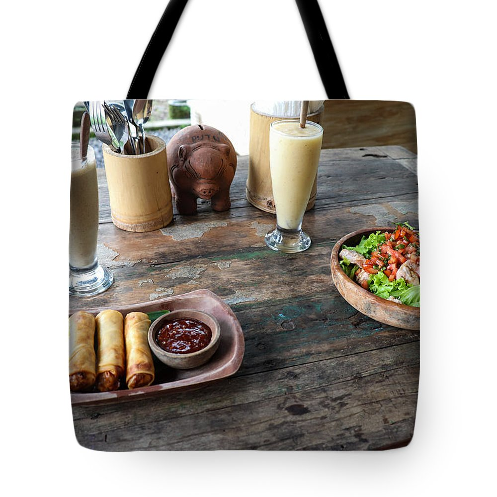 Indonesia Tote Bag featuring the digital art Balinese dinner by Worldvibes1