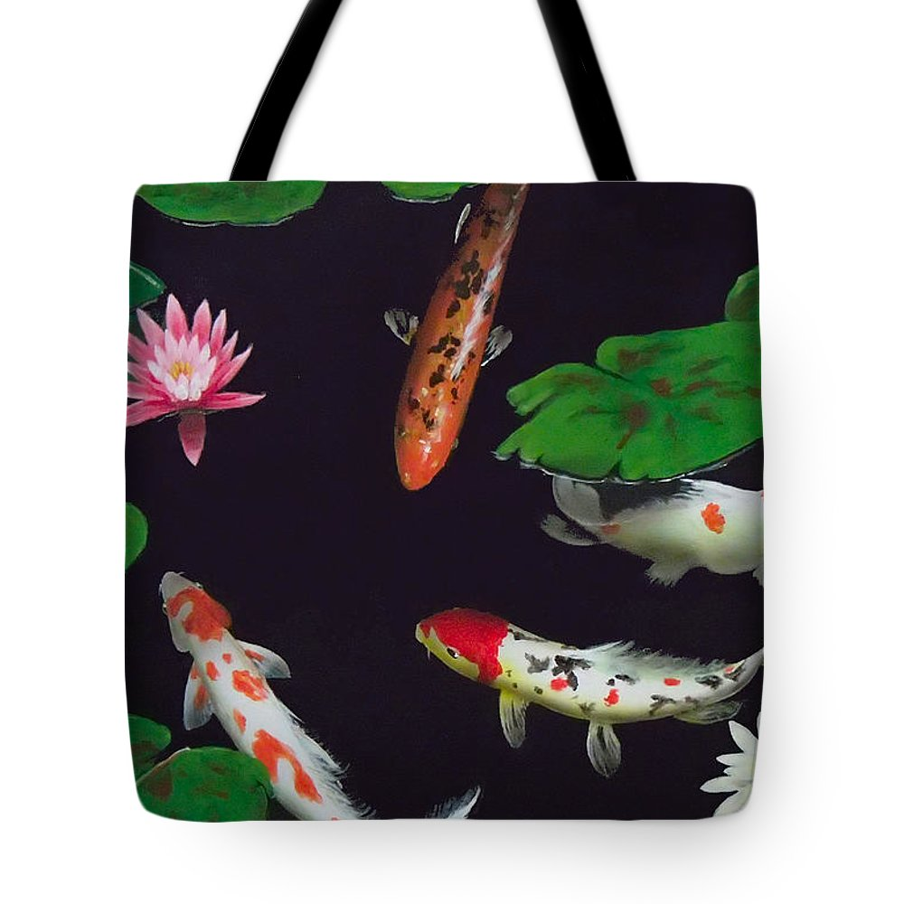 Koi Tote Bag featuring the painting Barbie's Koi pond by Philip Fleischer