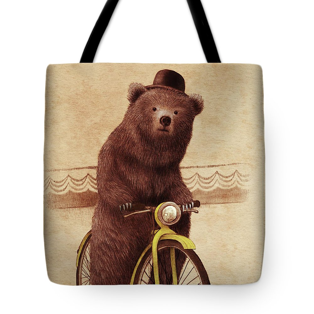 Bear Tote Bag featuring the drawing Barnabus by Eric Fan