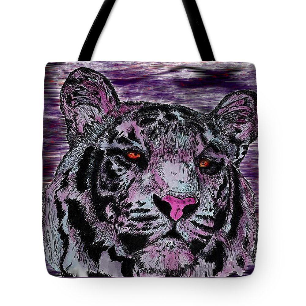 Tiger Tote Bag featuring the digital art Bashful Reloaded by Crystal Hubbard