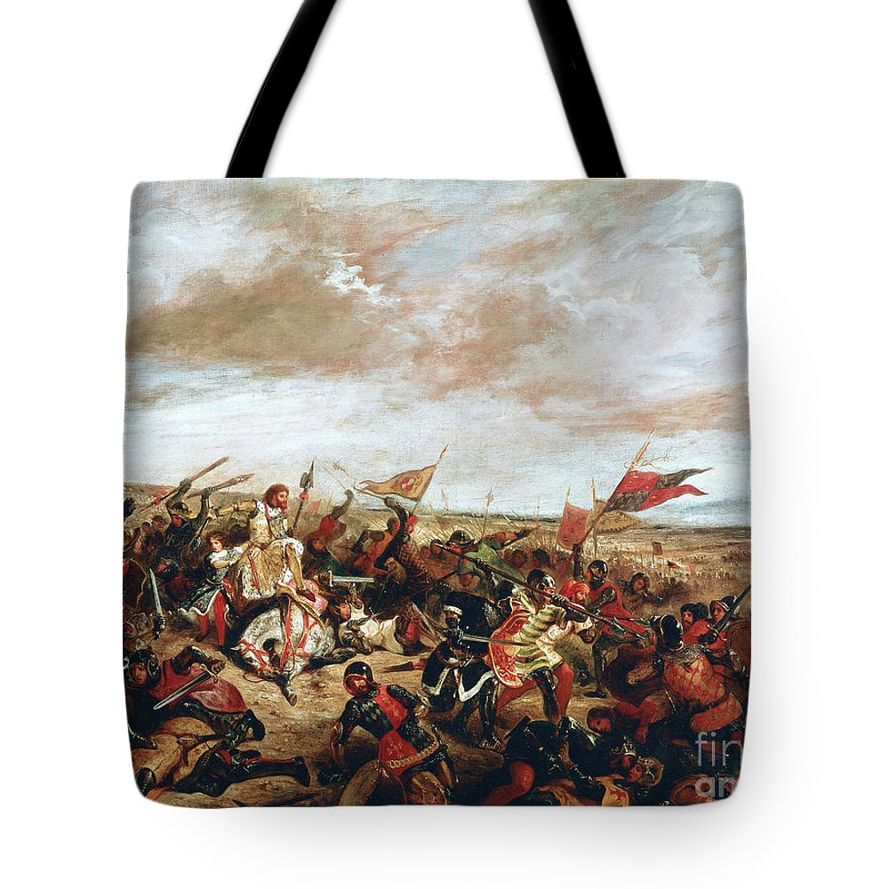 Poitiers Tote Bag featuring the painting Battle of Poitiers on September 19, 1356 by Ferdinand Victor Eugene Delacroix