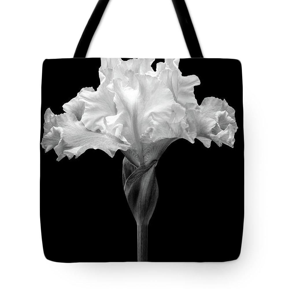Black And White Flower Photography Tote Bag featuring the photograph Bearded Iris Black And White by Trevor Slauenwhite