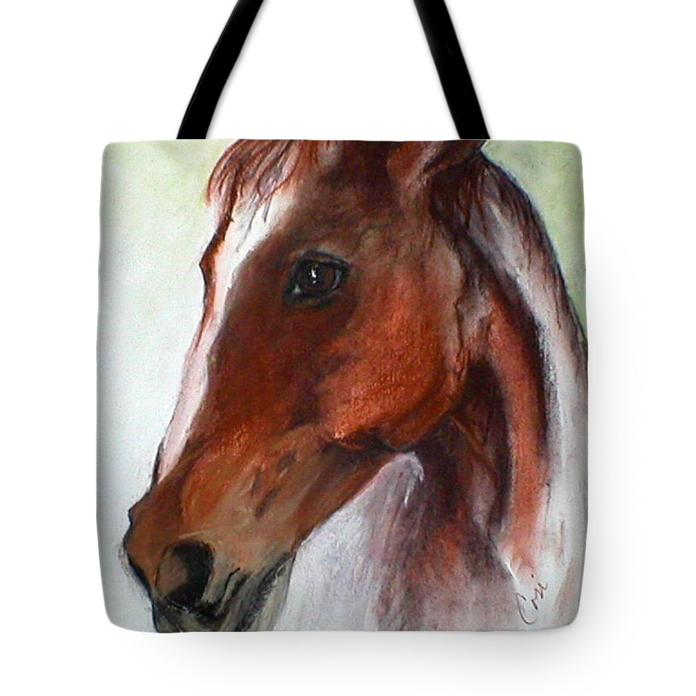 Horse Tote Bag featuring the drawing Becky by Cori Solomon