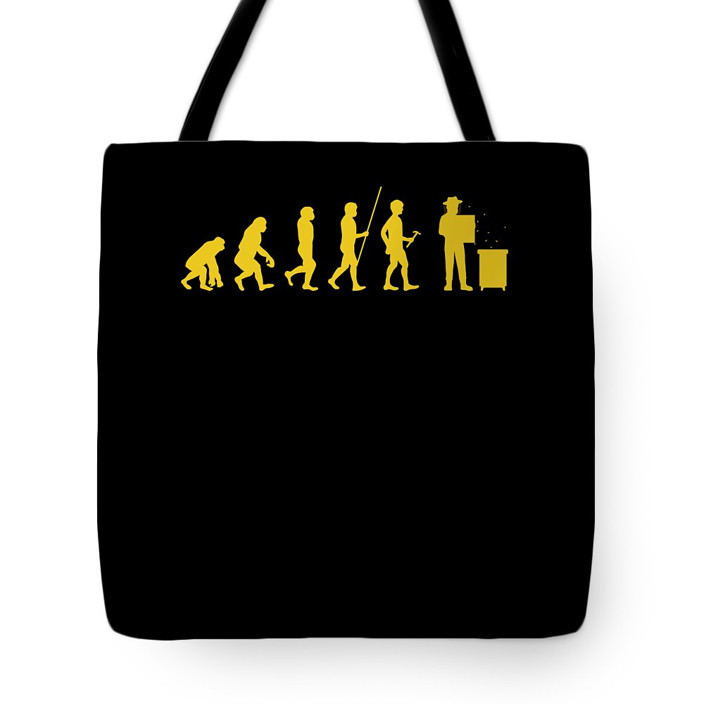Bee Keeping Tote Bag featuring the digital art Beekeeper Evolution Honey Bee Farmer Honeycomb Farming Apiarist by Thomas Larch