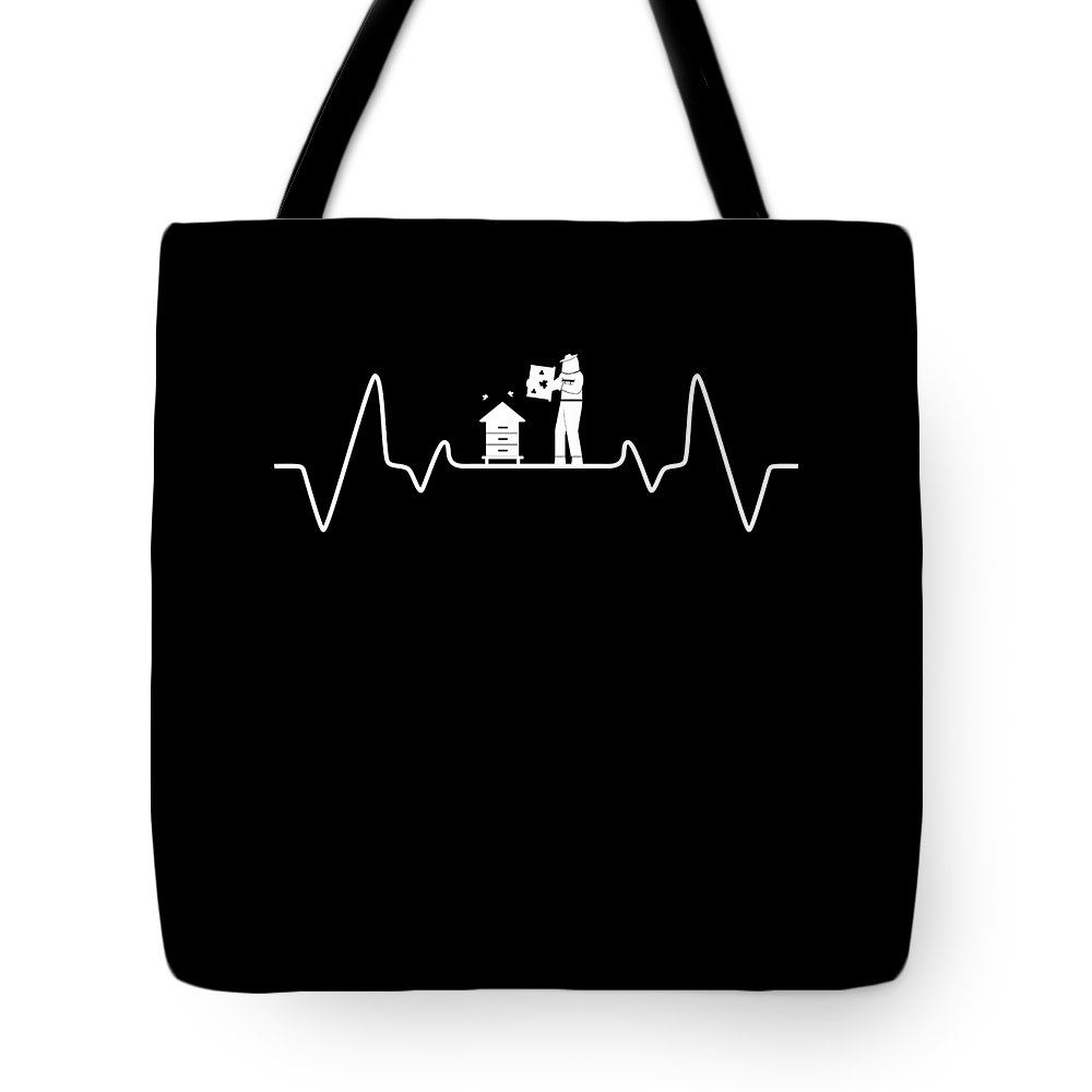 Bee Tote Bag featuring the digital art Beekeeper Pulse Rate Bee Beehive Honeycomb Gift by Thomas Larch