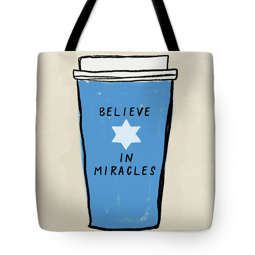 Hanukkah Tote Bag featuring the mixed media Believe In Miracles- Judaic Art By Linda Woods by Linda Woods