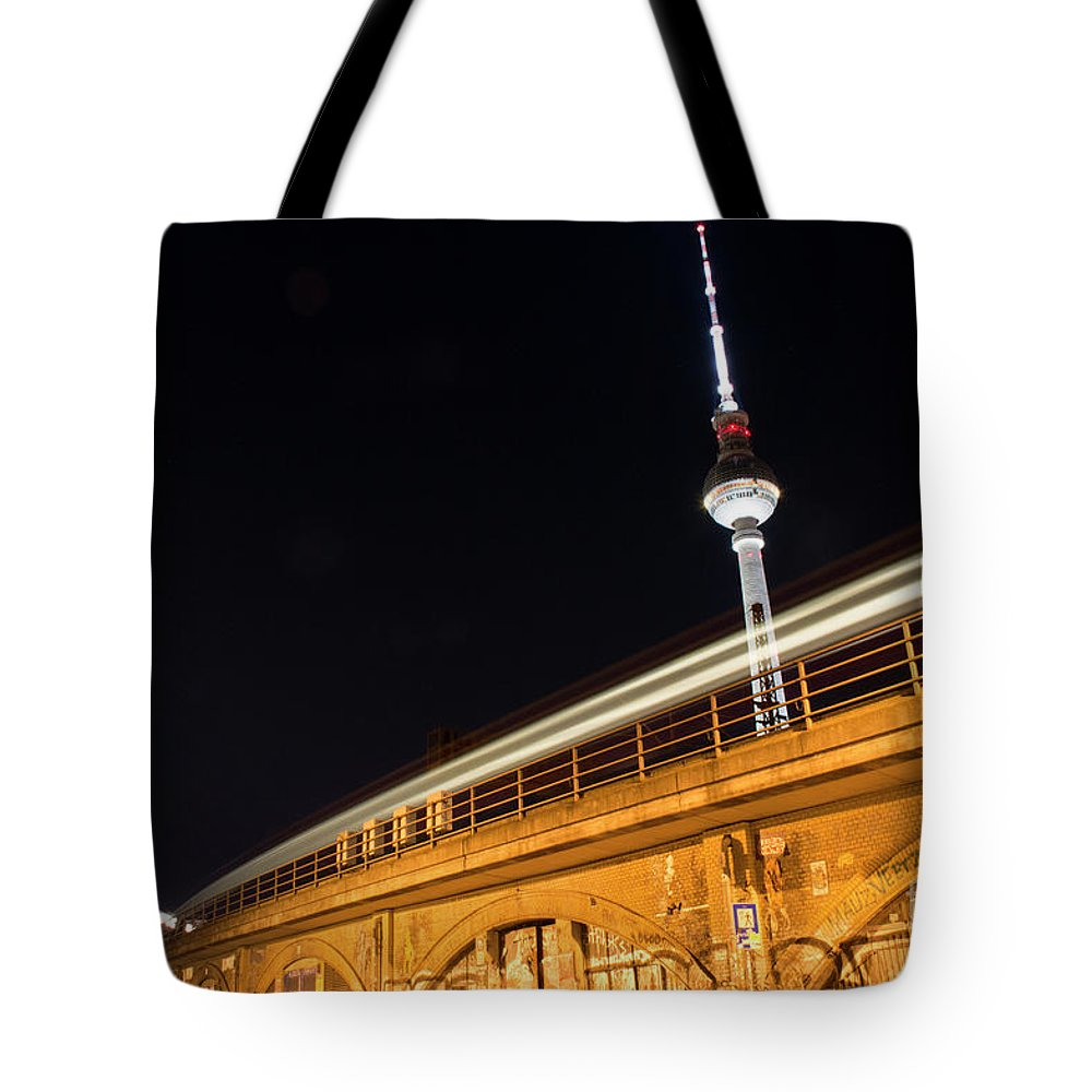 Berlin Tote Bag featuring the photograph Berlin By Night by Yavor Mihaylov