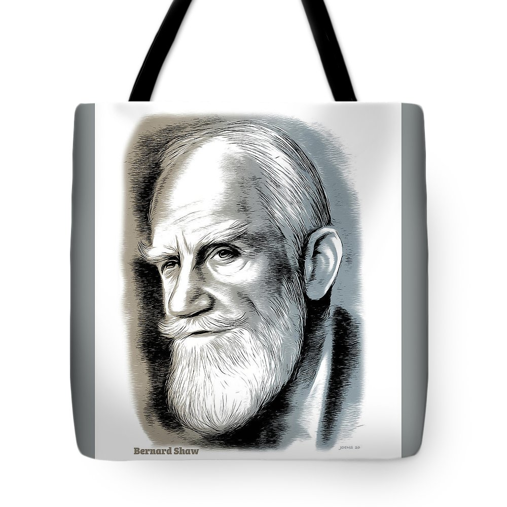 Bernard Shaw Tote Bag featuring the mixed media Bernard Shaw - Mixed Media by Greg Joens