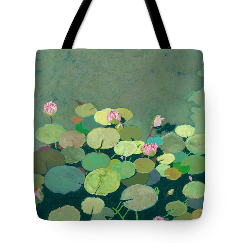 Landscape Tote Bag featuring the painting Bettys Serenity Pond by Allan P Friedlander