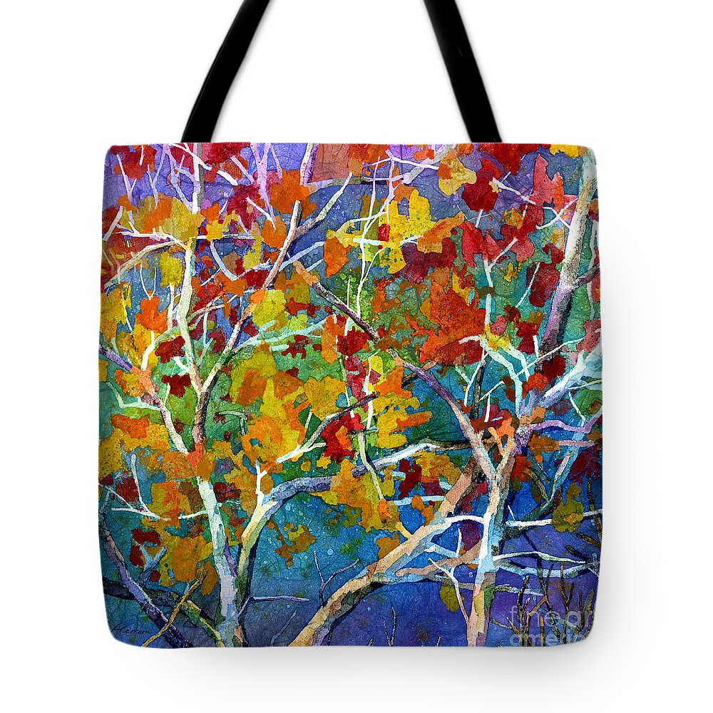 Trees Tote Bag featuring the painting Beyond the Woods - Orange by Hailey E Herrera