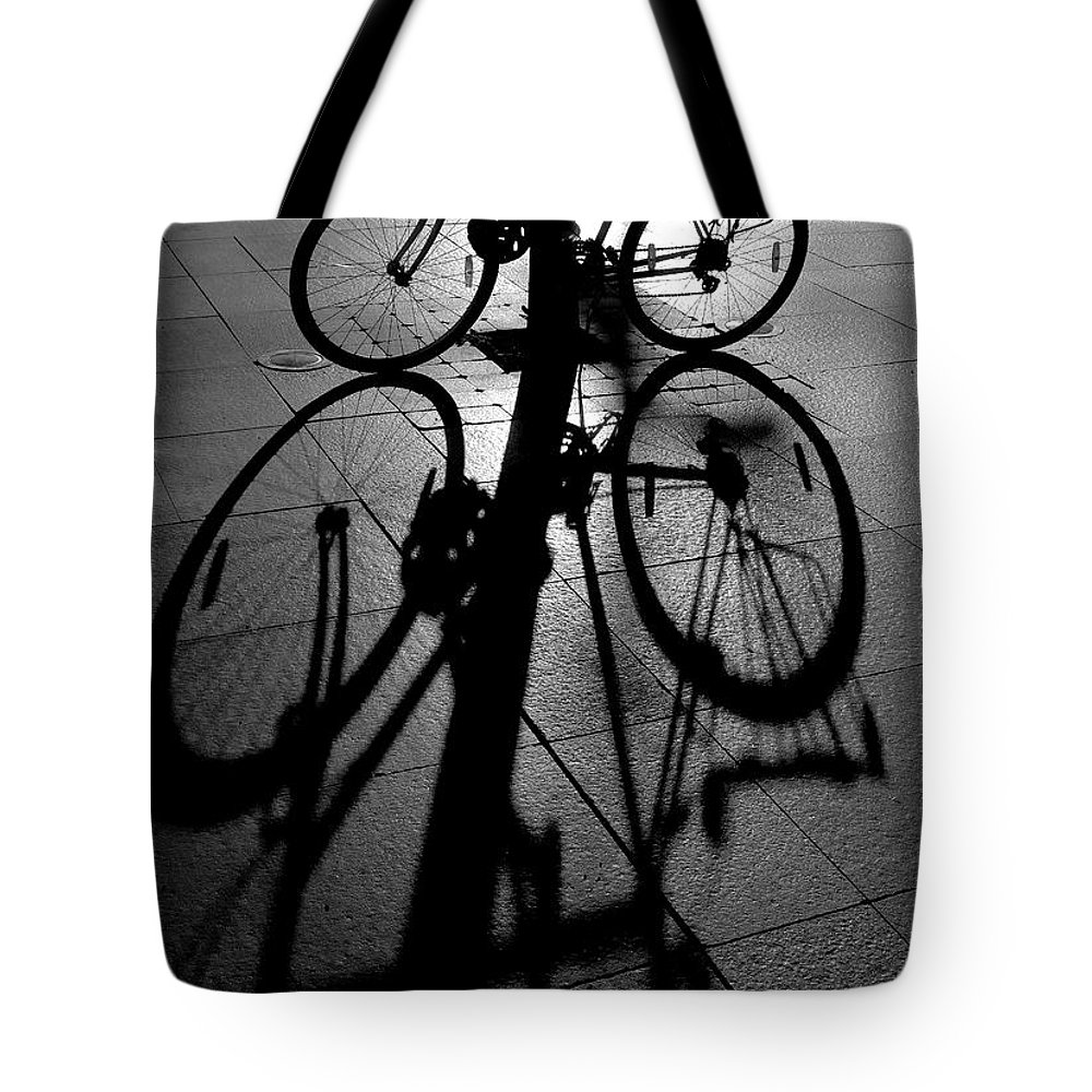 Bicycle Tote Bag featuring the photograph Bicycle shadow by Sheila Smart Fine Art Photography