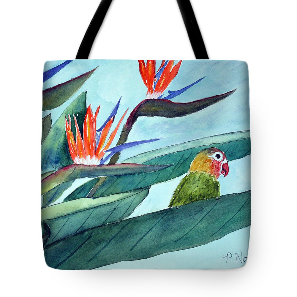 Bird Tote Bag featuring the painting Bird In Paradise by Patricia Novack