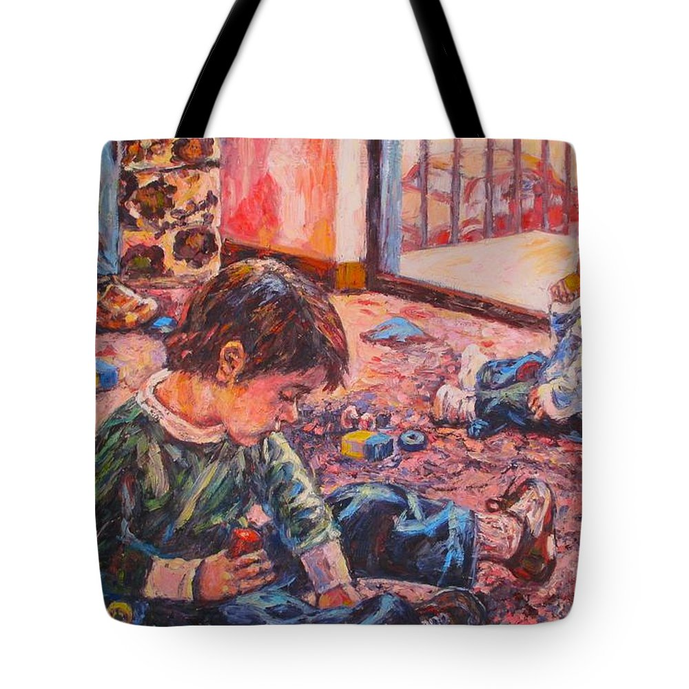 Figure Tote Bag featuring the painting Birthday Party or a Childs View by Kendall Kessler