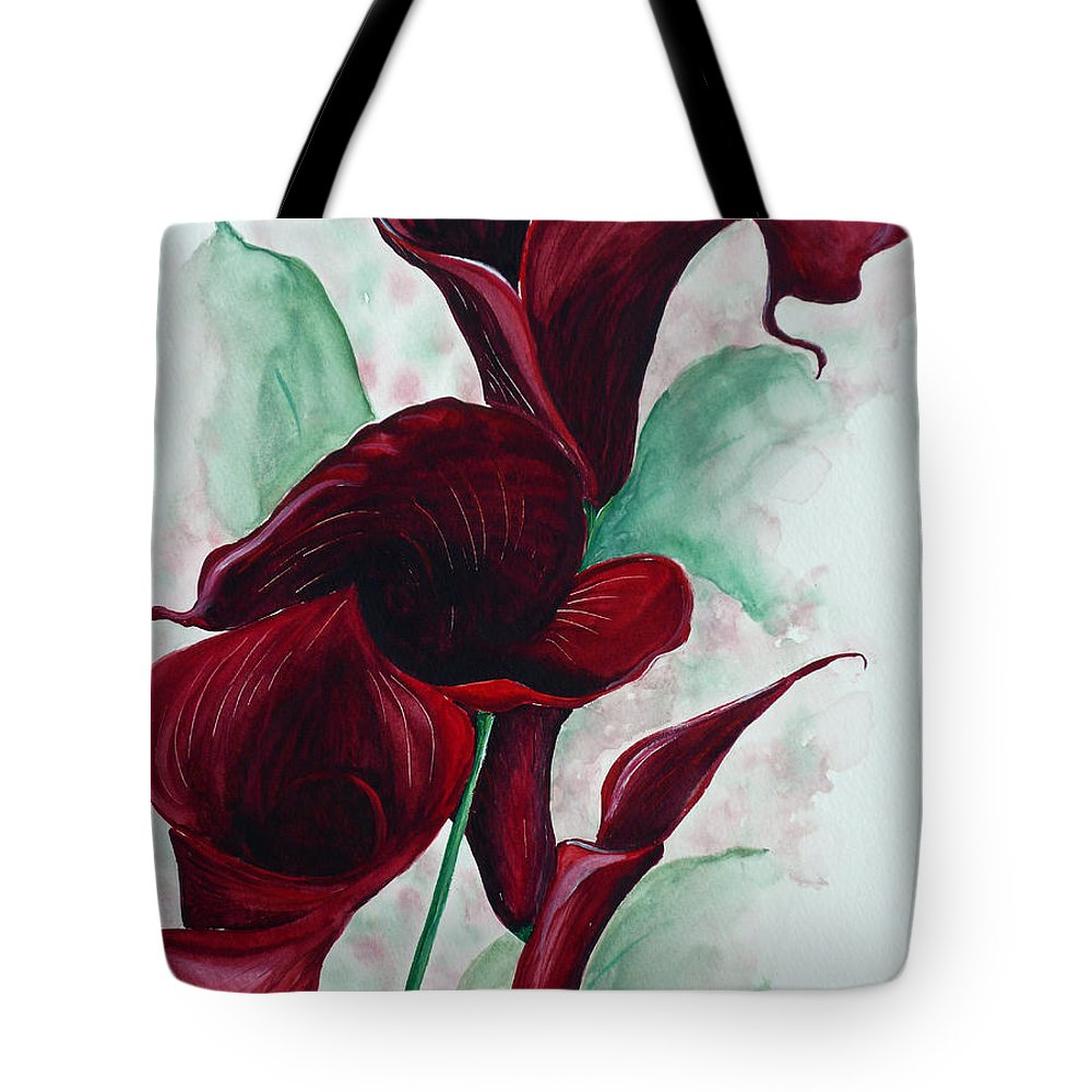 Flower Painting Floral Painting Botanical Painting Tropical Painting Caribbean Painting Calla Painting Red Lily Painting Deep Red Calla Lilies Original Watercolor Painting Tote Bag featuring the painting Black Callas by Karin Dawn Kelshall- Best
